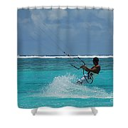 Lagoon Kitesurfer Shower Curtain by Camilla Brattemark
