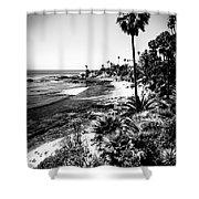 Laguna Beach Pacific Ocean Shoreline In Black And White Shower Curtain