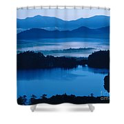 Lake And Moor In Mist Shower Curtain