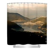 Lake And Town, Umbria, Italy Shower Curtain