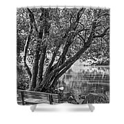 Lake Bench In Black And White Shower Curtain