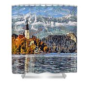 Lake Bled And Mountains Shower Curtain