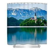 Lake Bled Island Church Shower Curtain
