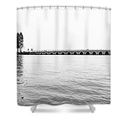 Lake Bridge Mono Shower Curtain