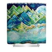 Lake By The Moon Light Shower Curtain