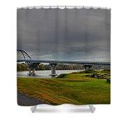 Lake Champlain Bridge Panorama From Crown Point Shower Curtain