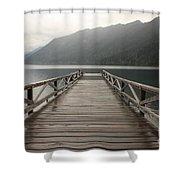 Lake Crescent Dock Shower Curtain