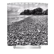 Lake Erie Coast Black And White Shower Curtain