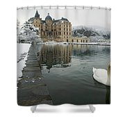 Lake In Front Of A Chateau, Chateau De Shower Curtain