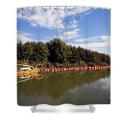 Lake Inlet With Dredger Shower Curtain