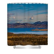 Lake Laberge And Surrounding Taiga In Fall Shower Curtain
