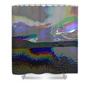 Lake Land And Sky Digitally Painted Photograph Taken Around Poconos  Welcome To The Pocono Mountains Shower Curtain