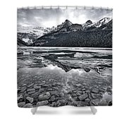 Lake Louise - Black And White #2 Shower Curtain