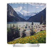 1m3520-h-lake Louise Chateau Shower Curtain