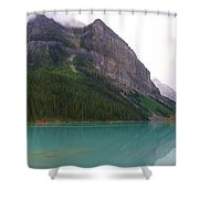 Panoramic Lake Louise, Alberta - Morning Reflections Shower Curtain