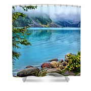 Lake Louise On A Cloudy Day Shower Curtain