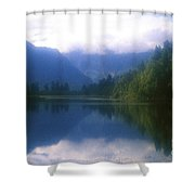 Lake Matheson In New Zealand's Westland National Park Shower Curtain