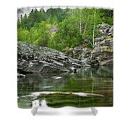 Lake Mcdonald Falls River Glacier National Park Shower Curtain