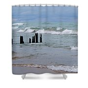 Lake Michigan Green Shower Curtain