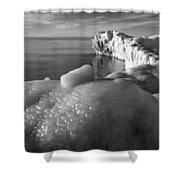 Lake Michigan Ice X Shower Curtain