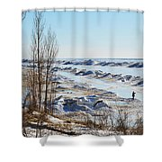 Lake Michigan In Ice Shower Curtain