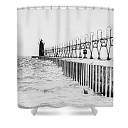 Lake Michigan Lighthouse Shower Curtain