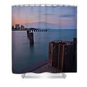 Lake Michigan Pylons Sunset Shower Curtain