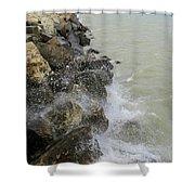 Lake Michigan Splash Shower Curtain