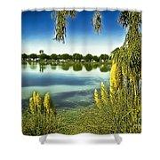 Lake Mindon Campground California Shower Curtain by Bob and Nadine Johnston