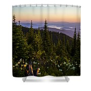 140701a-042 Lake Pend Oreille From The Cabinets Shower Curtain