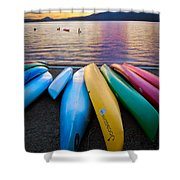 Lake Quinault Kayaks Shower Curtain by Inge Johnsson