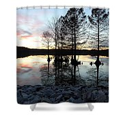 Lake Reflections At Sunset Shower Curtain