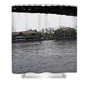 Lake Resort Framed From A Houseboat Shower Curtain