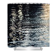 Lake Ripples In Blue At Sunset Shower Curtain