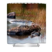 Lake Rocks And Grass Shower Curtain