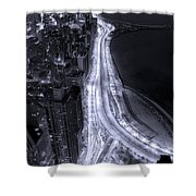 Lake Shore Drive Aerial  B And  W Shower Curtain