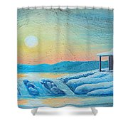 Lake Sunrise And The Old Cabin Shower Curtain