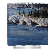 Lake Superior Ice Storm Shower Curtain