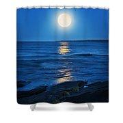 Lake Superior Moonrise Shower Curtain