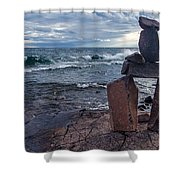 Show Me The Way - Lake Superior Rock Stack Shower Curtain