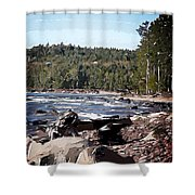 Lake Superior Shoreline Abstract Shower Curtain