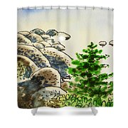 Lake Tahoe - California Sketchbook Project Shower Curtain