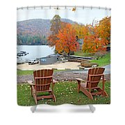 Lake Toxaway Marina In The Fall Shower Curtain