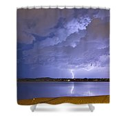 Lake View Lightning Thunderstorm Shower Curtain