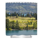 Lake Wakatipu And Queenstown Golf Course Shower Curtain