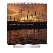 Lake Washington With Mount Rainier And Marina Shower Curtain