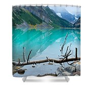 Lake With Canadian Rockies Shower Curtain