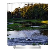 Lake With Fountain Shower Curtain