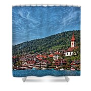 Lakefront Provincial Town Shower Curtain