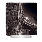 Lakeshore Drive Aloft Bw Warm Shower Curtain